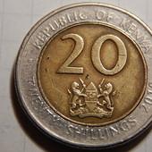 Монета. Биметалл! Кения. 20 шиллингов 2010 года.