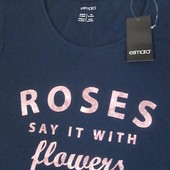 Стильная элегантная футболка темно синий цвет пудрово розовый декор Esmara Германия евро 36\38