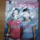 Вау! Бомбезные, модные хлопковые футболочи для девчушки! Набор 2 шт. 116 см.