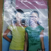 Супер лот из 2х хлопковых футболочек для маленькой модницы!!! 116 см.