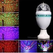Светодиодная вращающая лампа, диско шар. Светомузыка. led full color