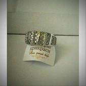 Оригинальное кольцо с цирконами,хромированое серебро,925 р18