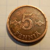 Монета. Финляндия. 5 пенни 1966 года.