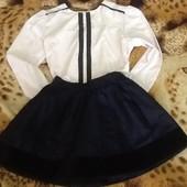 Комплект для юной школьницы юбка + блузка для первоклашки ( замеры в описании)