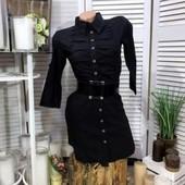 Рубашка-платье отменное качество стрейч котон+пояс рукав длинный