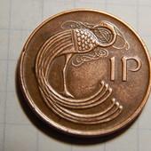 Монета. Ирландия. 1 пенни 1990 года. Фауна. Птица. реверс: Арфа.