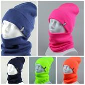 Теплый комплект шапка + хомут, отличное качество, много цветов!