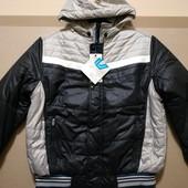Новая! Дутая с меховой подкладкой! Теплая куртка на 52-54 Синяя