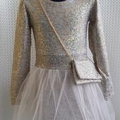 Очень красивое нарядное платье с фатином на рост до 116 см. Сумочка в комплекте!