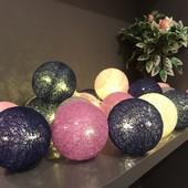 Реальні фото! Гирлянда Тайские фонарики Cotton Balls 1.8 м 10 шаров багато відтінків в лоті зелені
