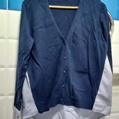 Новая!Стильная кофточка на шикарные размеры синяя с белым.Размер L
