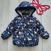 Стоп!Красивая куртка с единорожками, демисезон холодная весна отличное состояние