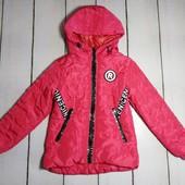 Стеганная куртка демисезонная для девочки р. 134 красная