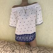 Роскошная блуза с вышивкой и с приспущенными плечиками George, сток эксклюзив! 100% хлопок