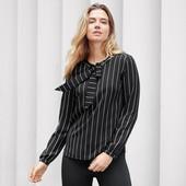 Черно-белая полосатая блуза с завязками от тсм чибо Tchibo (Германия), размер 44 евро, наш 50-52