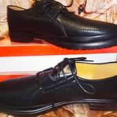 Туфли баталы- больших размеров, эко кожа, шнуровка. 42,43.
