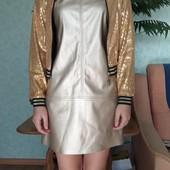 Бомбер пайетки, шикарно смотрится. 152-158.Платье из эко кожи в подарок.