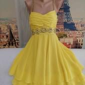 Ярко-жёлтое шолковое платье, Karen Millen, размер М.