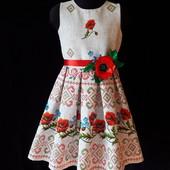"""Нарядные, оригинальные платья из хлопка """"Маки"""" в украинском стиле!Лот- 1 на выбор."""