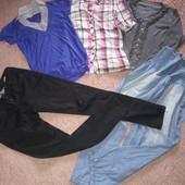 Фирменные джинсы, брюки с завышенной талией, футболка, рубашка и стильная кофточка одним лотом