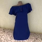 Роскошное платье с опущенными плечами, люкс сток! Цвет электрик