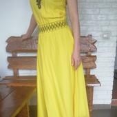 Летний лёгкий сочно-жёлтый сарафан с вышивкой, S, М
