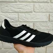 Кроссовки дыщащие черные в стиле Adidas Iniki - нубук/сетка..41(27).