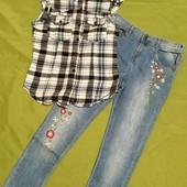 Шикарный летний образ для девочки 11 лет. Джинсы+рубашка с капюшоном.