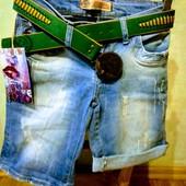 Новые турецкие качественные стрейчевые джинсовые шорты, р. 25, S, поб 40 см, пот 32 см