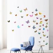 Декор стен.Набор ярких цветных бабочек.6шт.