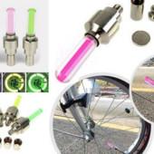 Светодиодная подсветка колес велосипеда4 на ниппель.1шт.розовый цвет