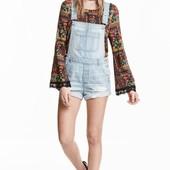 Рваный джинсовый комбез комбинезон шорты H&M