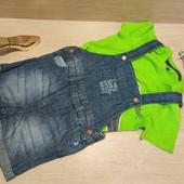 Германия!!! Симпатичный наборчик для мальчика! Яркая футболка 86/92 и джинсовые комбинезон 86!