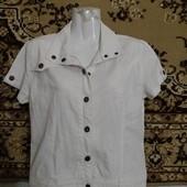 Классная рубаха-пиджак на молнии и кнопках✓Лен+катон✓Качество✓Как новая✓Много лотов✓
