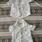 Одним лотом две рубашки фирменные для модника 6-12 мес