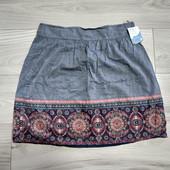 Фирменная новая коттоновая юбка под джинс с узором р.14-16