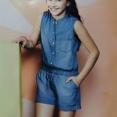 Шикарный короткий комбинезон ромпер для девочки из легкого денима Lidl Aldi Германия Размер на выбор