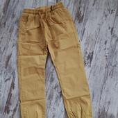Крутецкие брюки джоггеры желто горчичный цвет весна лето р134р длина 77/53