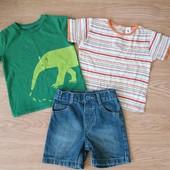 2 футболки +джинсовые шорты на 1-2 годика