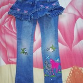 Моднячие джинсы скинны с юбочкой 110/116