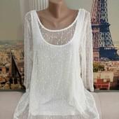 Белоснежная двойная блуза, Peacocks, размер L-XL.