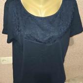 esmara.хлопковая футболка с кружевом L44/46+6замеры
