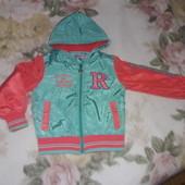 куртка ветровка на флисе, на 4-5 лет