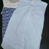 Летняя коттоновая Голубая блуза H&M pp 16