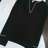Стильная чёрная блуза с белой окантовкой H&M pp 10