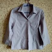 40р. Сиреневая рубашка-блузка с укороченными рукавами, замеры