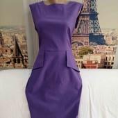 Стрейчевое платье фиалкового цвета с баской, Mariko, размер М - L.
