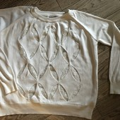 Белый свитер с гипюровыми вставками р. 38(евро)