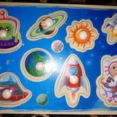 """Деревянная развивающая доска Сегена для детей """"Космический транспорт"""" !"""" рамки вкладыши."""