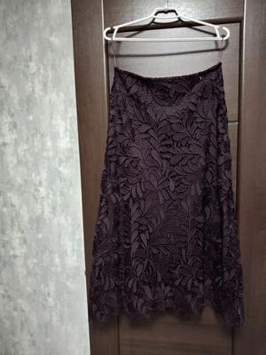 Фирменная новая красивая кружевная юбка-макси на чехле р.12-14